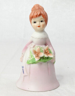 "1983 June Pink Purple Girl Ceramic Porcelain Bell with Flowers 4.5"" Tall"
