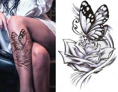 Temporary Tattoo Large Black Inked Butterfly Rose Flower Body Art Waterproof