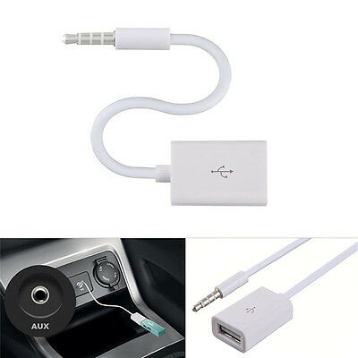 Weiß  3.5mm  Stecker AUX Audio Plug Jack to USB 2.0 Female Converter Cable Cord.