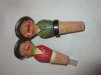 2 Rare Vintage Hand Carved Black Forest Bottle Stoppers