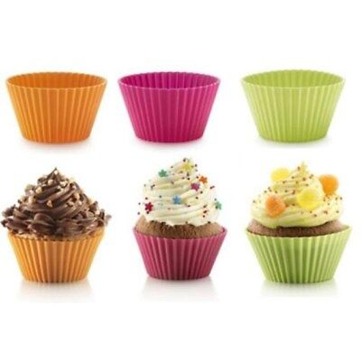Set 6 Stampi Formine Silicone Pirottini CupCakes Dolci Muffin Forma Standard dfh