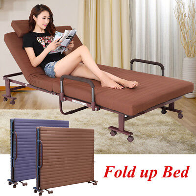 Fold up Guest Bed With Mattress Foldable Folding Away Visitor Bed Recliner Metal