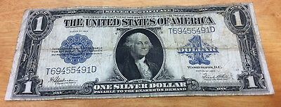 1923 $1 Large Size Blue Seal Silver Certificate ~ .99 Cent Starting Bid