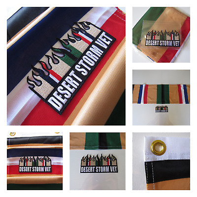 New 2-Piece Veteran Desert Storm Southwest Asia Campaign Banner Flag and Patch