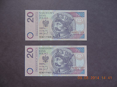 Poland 1994 20 Zlotych - 2 Consective Notes- -Replacment (Star ) Notes-Gem Unc