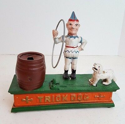 Vintage Working Cast Iron Mechanical Trick Dog Coin Bank Antique Hubley Replica