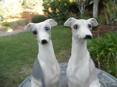 Whippet Sighthound Dog Ceramic Vintage Sculpture Male And Female Lot Of 2