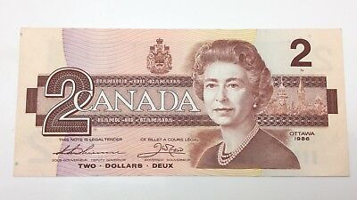 1986 Canada 2 Two Dollars Prefix CBH Canadian Uncirculated Banknote E421