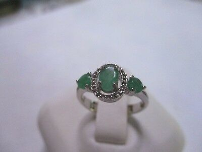 Gorgeous 3 Stone Sterling Silver Real Green EMeralds Ring 925 silver size 6