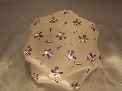 Antique Victorian Frosted Purple Enameled Violets Art Glass Dresser Jar Box