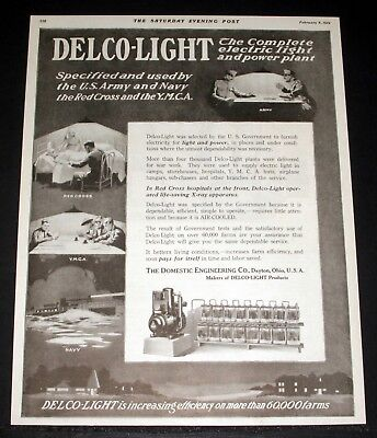1919 Old Magazine Print Ad, Delco-Light, Complete Electric Light & Power Plant!