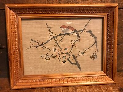 Vintage Wooden Scroll Painting Bird on Branch Cherry Blossoms Signed Japan?