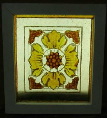 "VICTORIAN OLD ENGLISH LEADED STAINED GLASS WINDOW Handpainted Panel 8.25"" x 9.25"