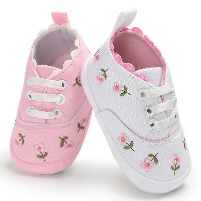 Baby Infant Kids Canvas Crib Shoes Girls Toddler Sneaker Floral Prewalker 0-18M