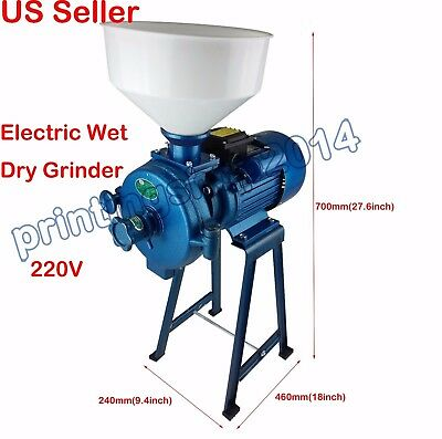 Electric Wet Dry Grinder Rice Wheat Mill Corn Grain Animal Poultry Feed  220V