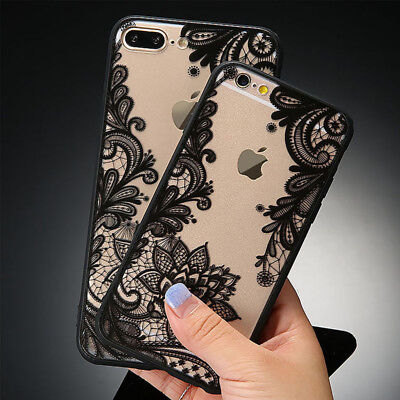 Sexy Lace Floral Phone Case For iPhone 8 7 6 6s Plus Retro Paisley Flower Cover