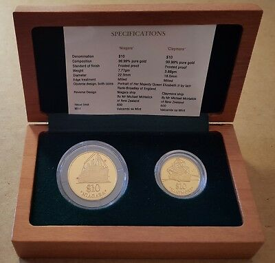 2000 New Zealand Gold Coin Pair 2000 Niagara And Claymore 600 Issued Proof