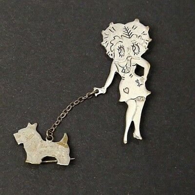 Betty Boop and Dog Walking Pin Brooch Vintage 1940's Collectible ***SALE***