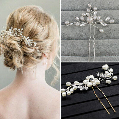 3pcs Vintage Crystal Diamante Pearl Flower Bridal Wedding Prom Hair Pins Clips