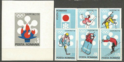 Romania - Mail 1971 Yvert 2652/7+H,92 Mnh Games Olympic Sapporo