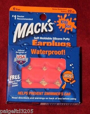 Mack's Soft Moldable Silicone Putty Noise Reduction Earplugs 6 Pairs Kids Size