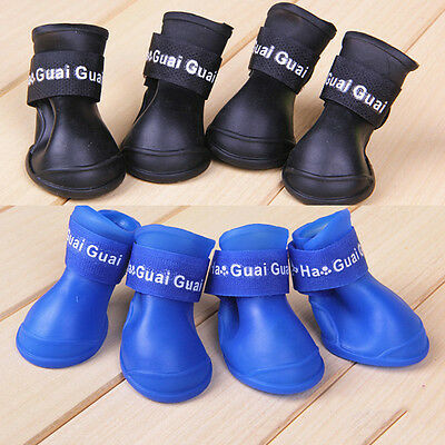 4X Dog Boots Shoes Candy Color Waterproof Rubber Pet Puppy Rain Shoes Booties AU