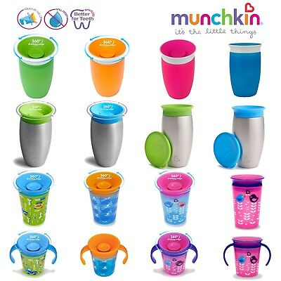Non Spill Sippy Cup Munchkin Miracle 360 Baby Trainer Toddler Pink No Proof Blue