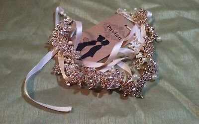 Pavian gold alloy crystal diamond Floral tiara wedding hair accessories frontlet