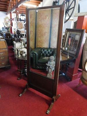 An Ample Sized Antique Edwardian Mahogany Cheval Dressing Mirror