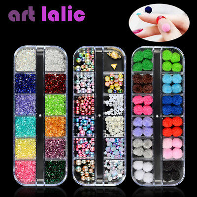 3D Nail Art Rhinestones Glitter Metal Acrylic Sequins Decoration Tips Manicure