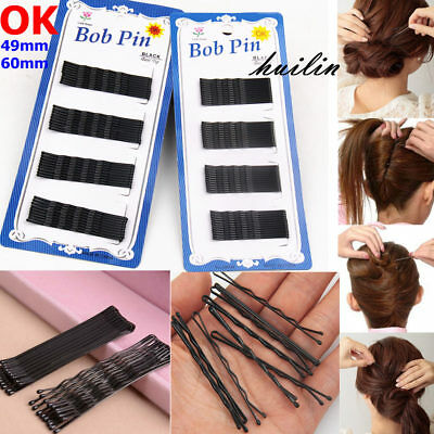 OK Invisible Hair Clips Flat Top Bobby Pins Grips Salon Barrette Black 2 size