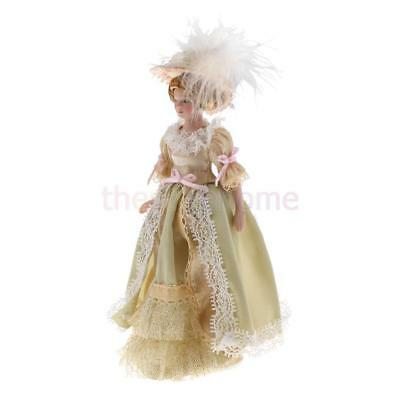 MagiDeal 1/12 Doll House Porcelain Dolls Victorian Lady in Light Green Dress