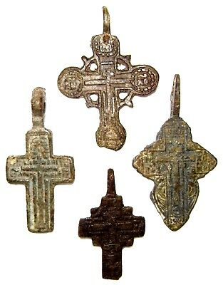 Ancient lot of 4 bronze Believer crosses Middle Ages. #111