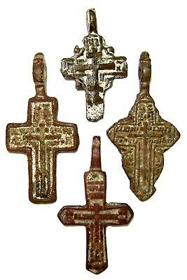 Ancient lot of 4 bronze with enamels Believer crosses Middle Ages. #113