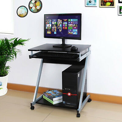 Z-Shaped Computer Desk PC Table Workstation with Sliding Keyboard Movable Wheels