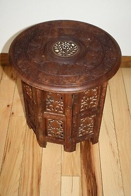 """Vintage Carved Wood Folding Accent Table w/Inlay Floral 15.75""""H x 15""""W~Pre-owned"""