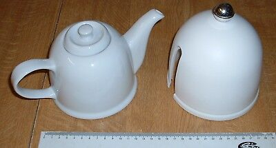 Vintage Retro White Teapot With Lined Cover