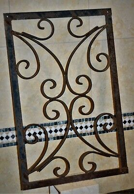 Rectangular Cast Iron  Ornate Scroll Wall Register Grate Vent Antique Vintage