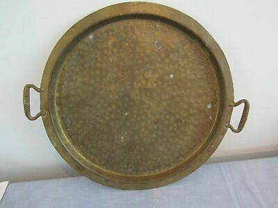 """Hammered Brass Serving Tray 13.5"""" Unmarked"""