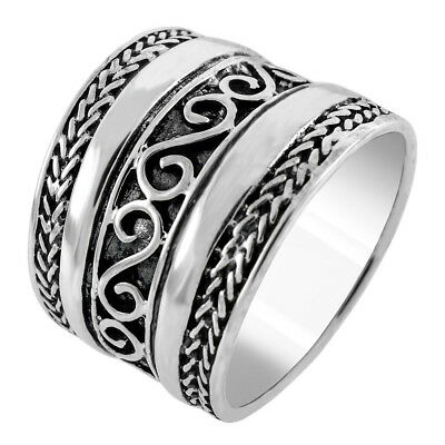 Womens 925 Sterling Silver Bali Style Oxidized Band Ring