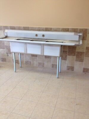 (3) Three Compartment Commercial Stainless Steel Sink 90 x 23.5 G