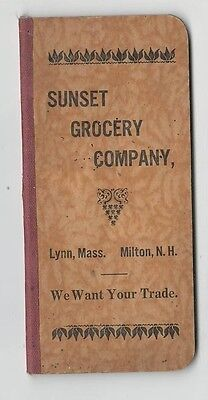 1910 – Sunset Grocery Company Lynn, MA Milton, NH Note Booklet - Complete