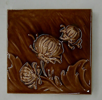 Antique Victorian Tile with Chrysanthemems