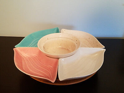 California L34 USA Pottery Various Color w/ Brown Speckled 4 Pc. Lazy Susan Set