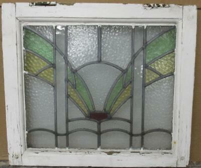 """OLD ENGLISH LEADED STAINED GLASS WINDOW Pretty Abstract 20.25"""" x 18"""""""