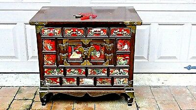 Antique Korean Painted&brass Decoration 4 Drawers And 2 Doors Storage,cabinet