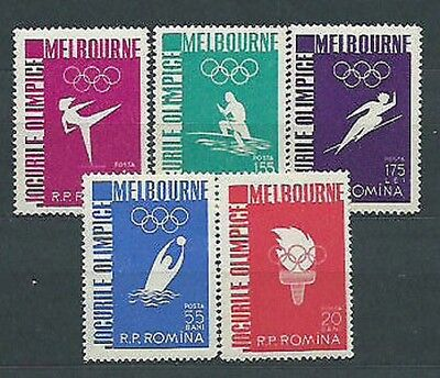 Romania - Mail 1956 Yvert 1473/7 Mh Games Olympic's Melbourne