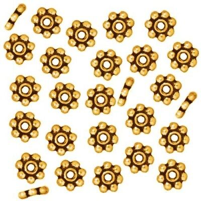 Bright 22K Gold Plated Pewter Daisy Spacer Beads 5mm (50)