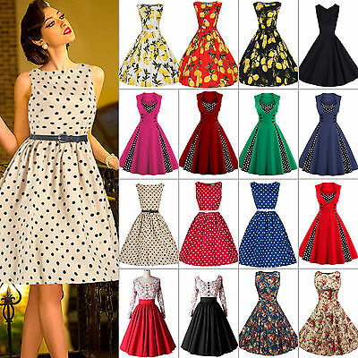 Damen Retro 50er Rockabilly Kleider Petticoat Party Cocktailkleider Abendkleider