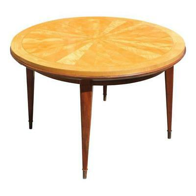 Beautiful French Art Deco Sunburst Round Dining Table By Jules Leleu Circa 1940s
